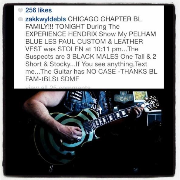 Zakk Wylde's Guitar And Vest Stolen While On Tour In Chicago, IL