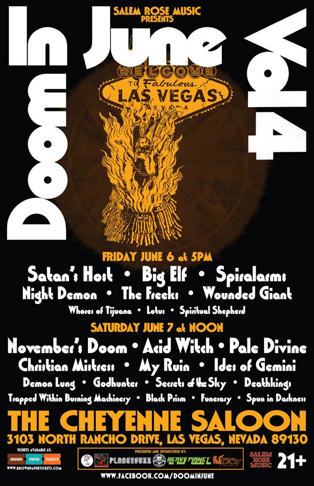 Doom in June Vol. 4 with 23 bands at Cheyenne Saloon in Las Vegas June 6th and 7th‏