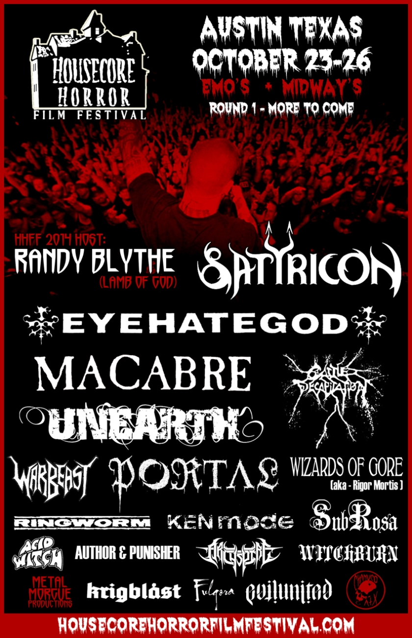 2014 Housecore Horror Film & Music Festival to be Hosted by LAMB OF GOD'S Randy Blythe w/Performances from SATYRICON, EYEHATEGOD and more