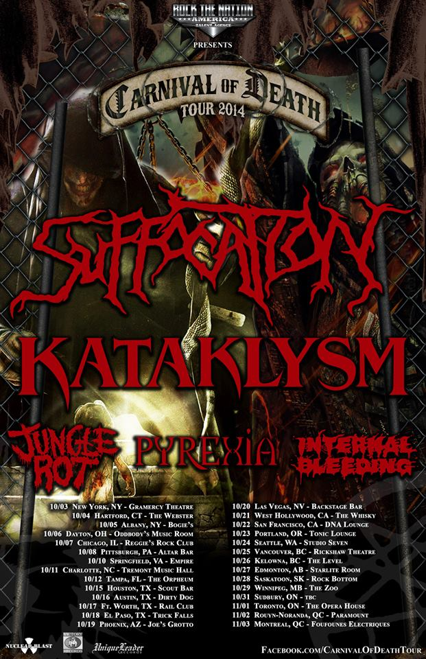 Suffocation official dates for the Carnival of Death Tour!!!