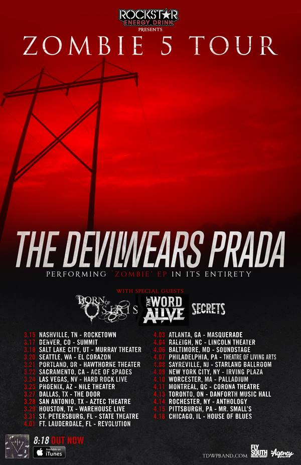 "The Devil Wears Prada 2015 ""Zombie"" Tour With Born Of Osiris, The Word Alive & Secrets"