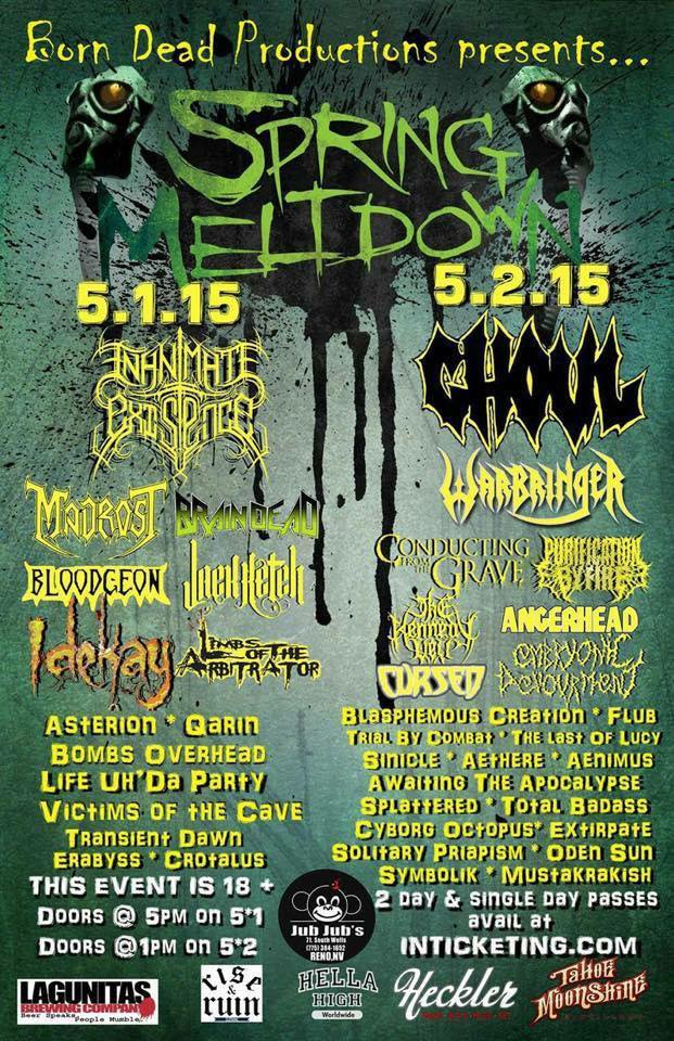 Embryonic Devourment To Play Spring Meltdown 2015 With Ghoul, Warbringer And Many More..