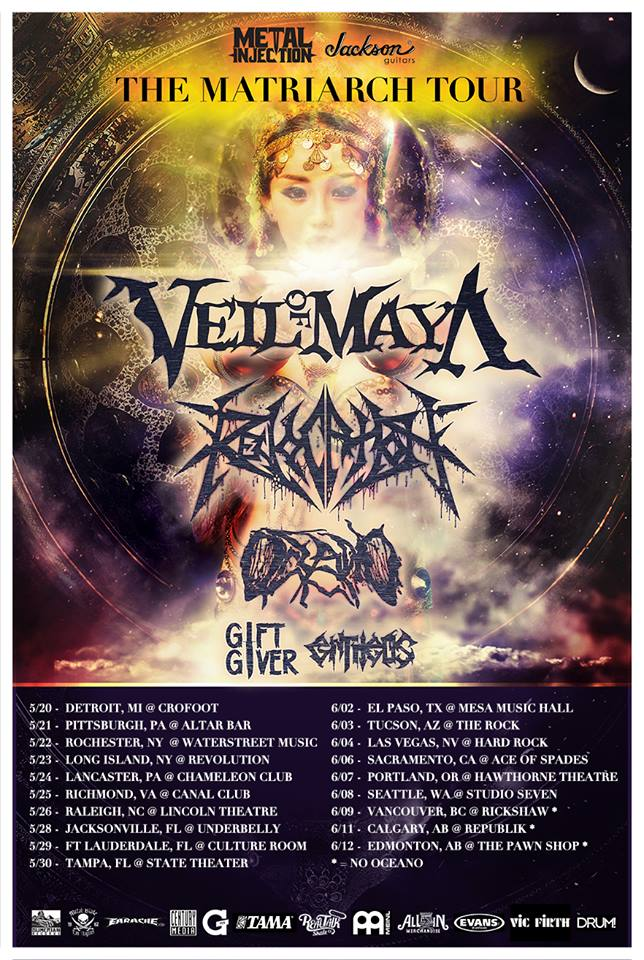 Veil Of Maya, Revocation, Oceano, Gift Giver & Entheos Tour Announced
