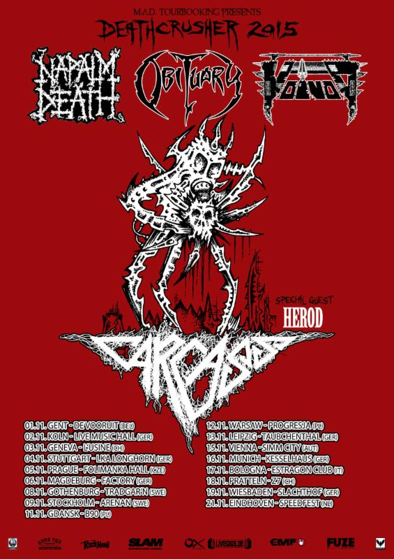 "VOIVOD touring Europe as part of the ""Deathcrusher 2015″ package; New 7"" EP in the works!‏"