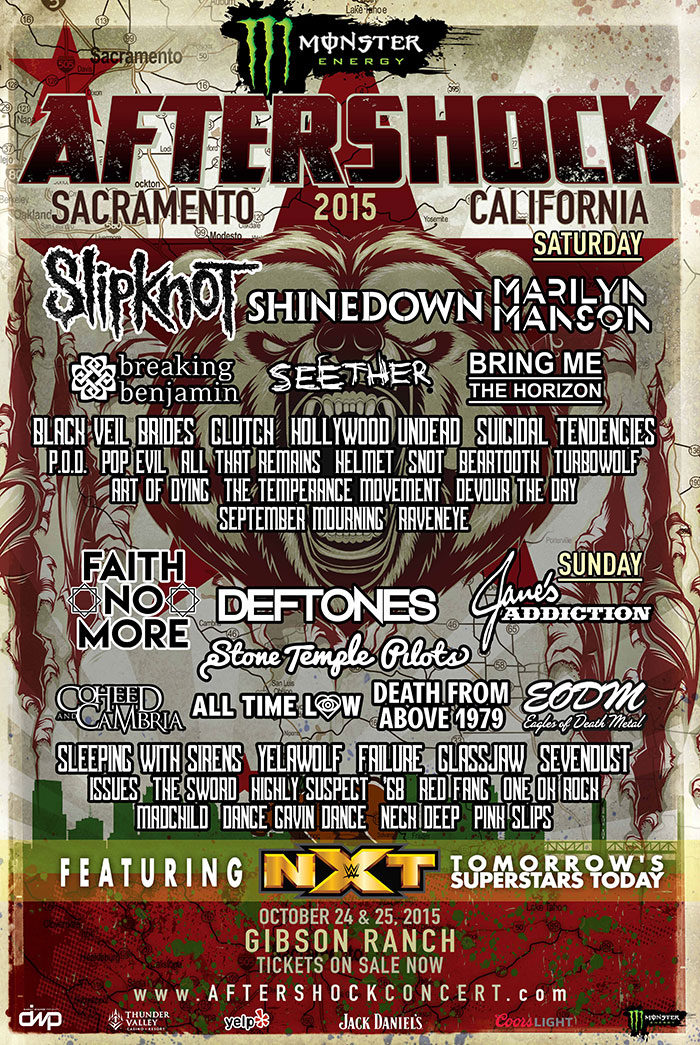 Monster Energy AFTERSHOCK: Band Performance Times Revealed For Oct. 24 & 25Festival