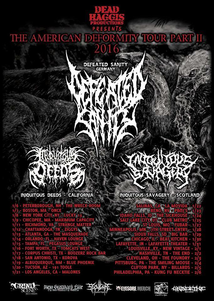"""Defeated Sanity Announce """"THE AMERICAN DEFORMITY TOUR PART II""""Dates"""