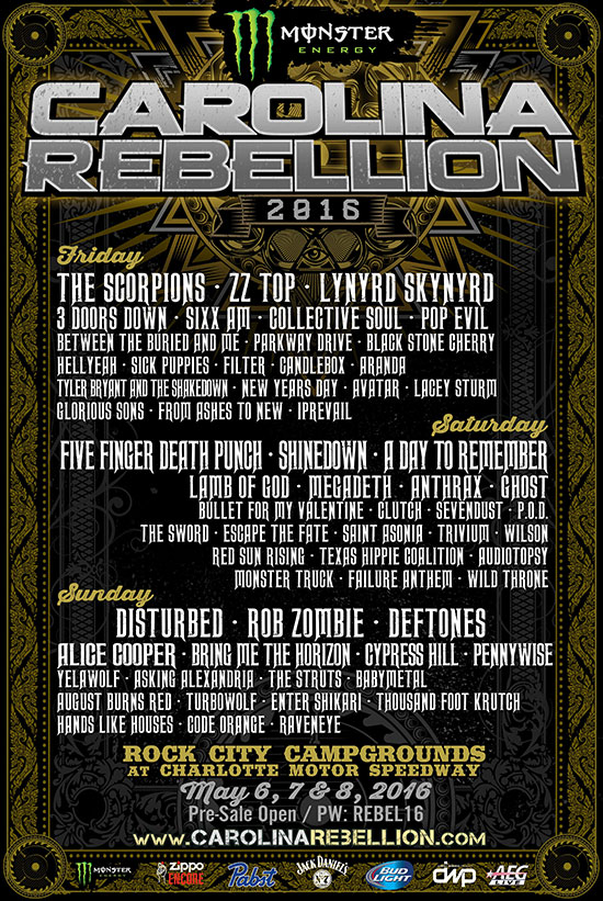 Monster Energy Carolina Rebellion Expands To Three Full Days In 2016 With ZZ Top, Scorpions And More