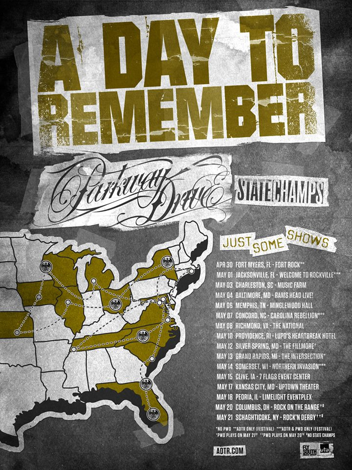 A Day to Remember announce tour with Parkway Drive and State Champs