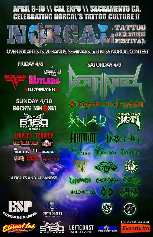 Death Angel, Flotsam And Jetsam, Skinlab And All Hail The Yeti Confirmed For Norcal Tattoo And Music Fest 2016