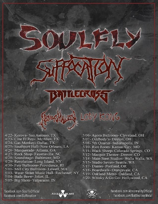 SOULFLY announce U.S. headlining tour with SUFFOCATION!‏