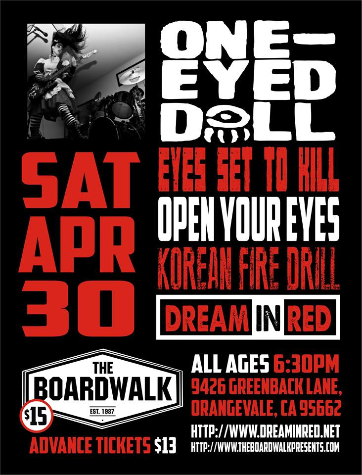 Sacramento's Dream In Red To Support One Eyed Doll And Eyes Set To Kill In Orangevale