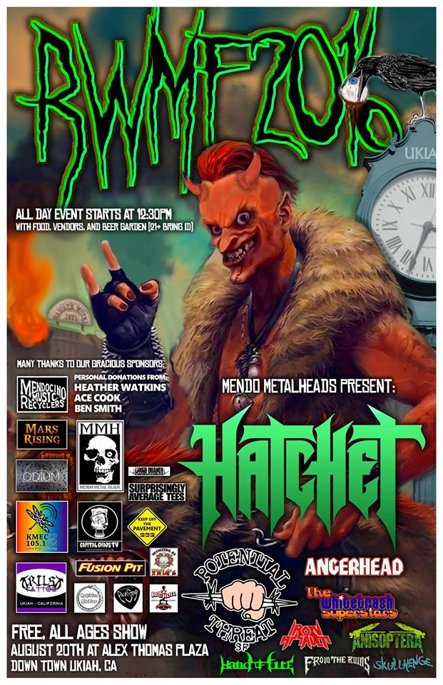 Redwood Metal Fest 2016 To Feature Hatchet, Potential Threat, Angerhead And Others Once Again ForFree