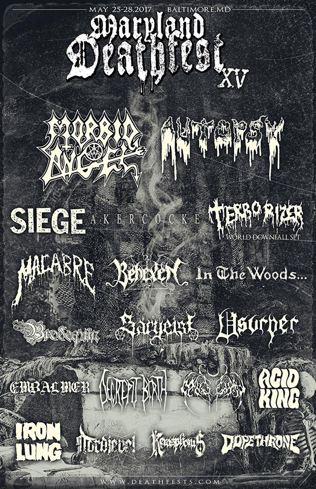 Morbid Angel, Terrorizer, Autopsy, Decrepit Birth And More Confirmed For Maryland Death Fest 2017