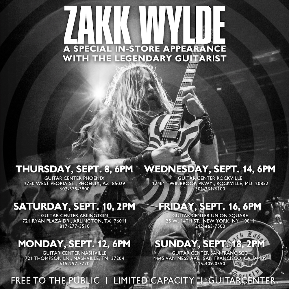 Zakk Wylde Announces Meet + Greet Dates with Guitar Center