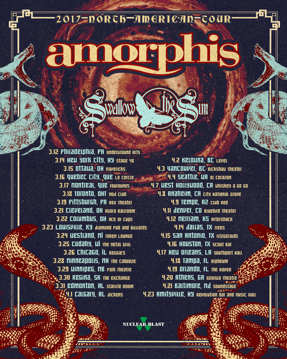 Amorphis to tour North America with Swallow TheSun