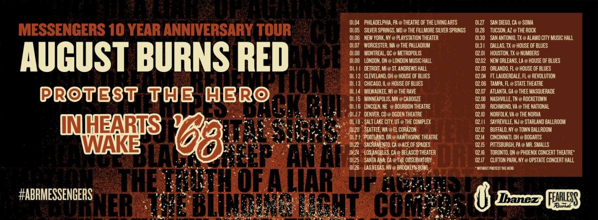 August Burns Red Announces Messengers 10 Year Anniversary tour
