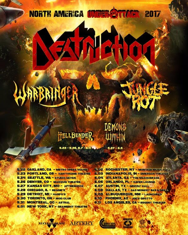 Warbringer Announce North American Tour With Destruction and Jungle Rot