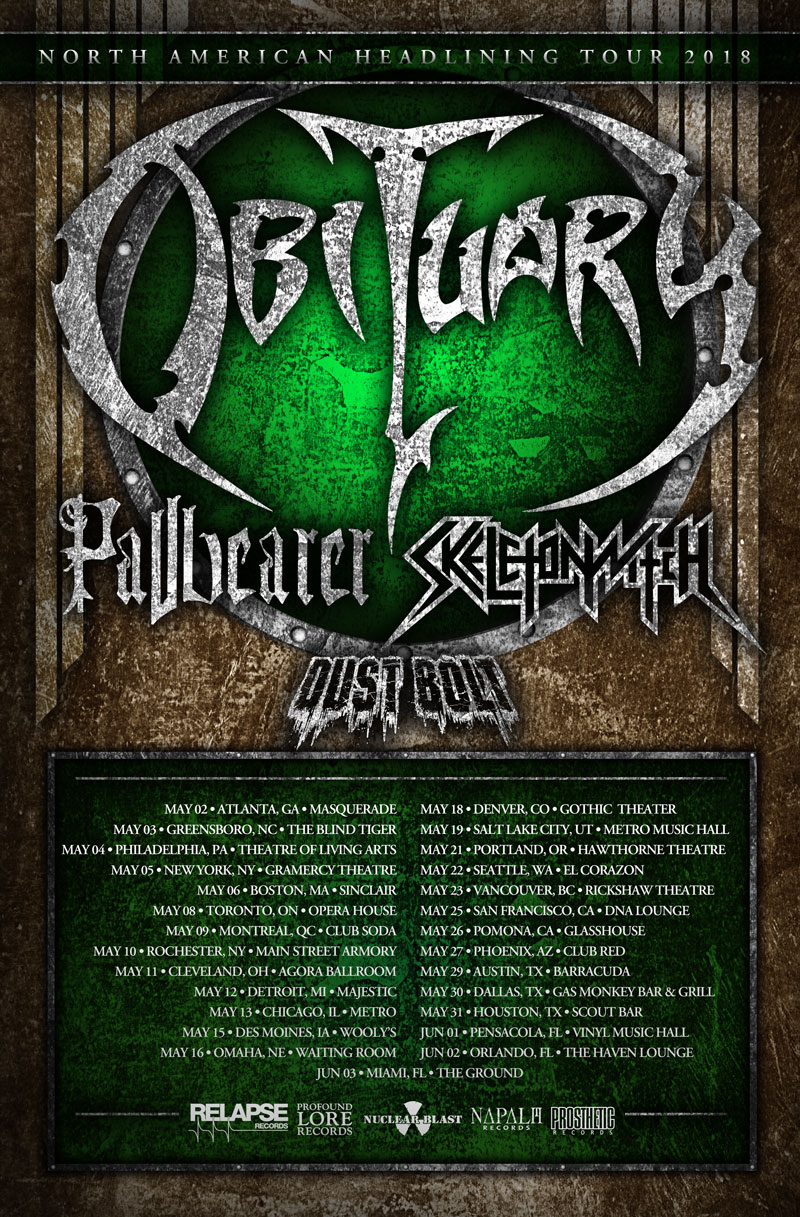 Obituary Announce North American Headline Tour with Pallbearer