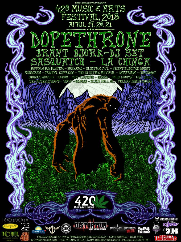 Calgary's 420 Music and Arts Festival Announces 2018 Line-Up  w/ Dopethrone, Brant Bjork, Sasquatch, La Chinga