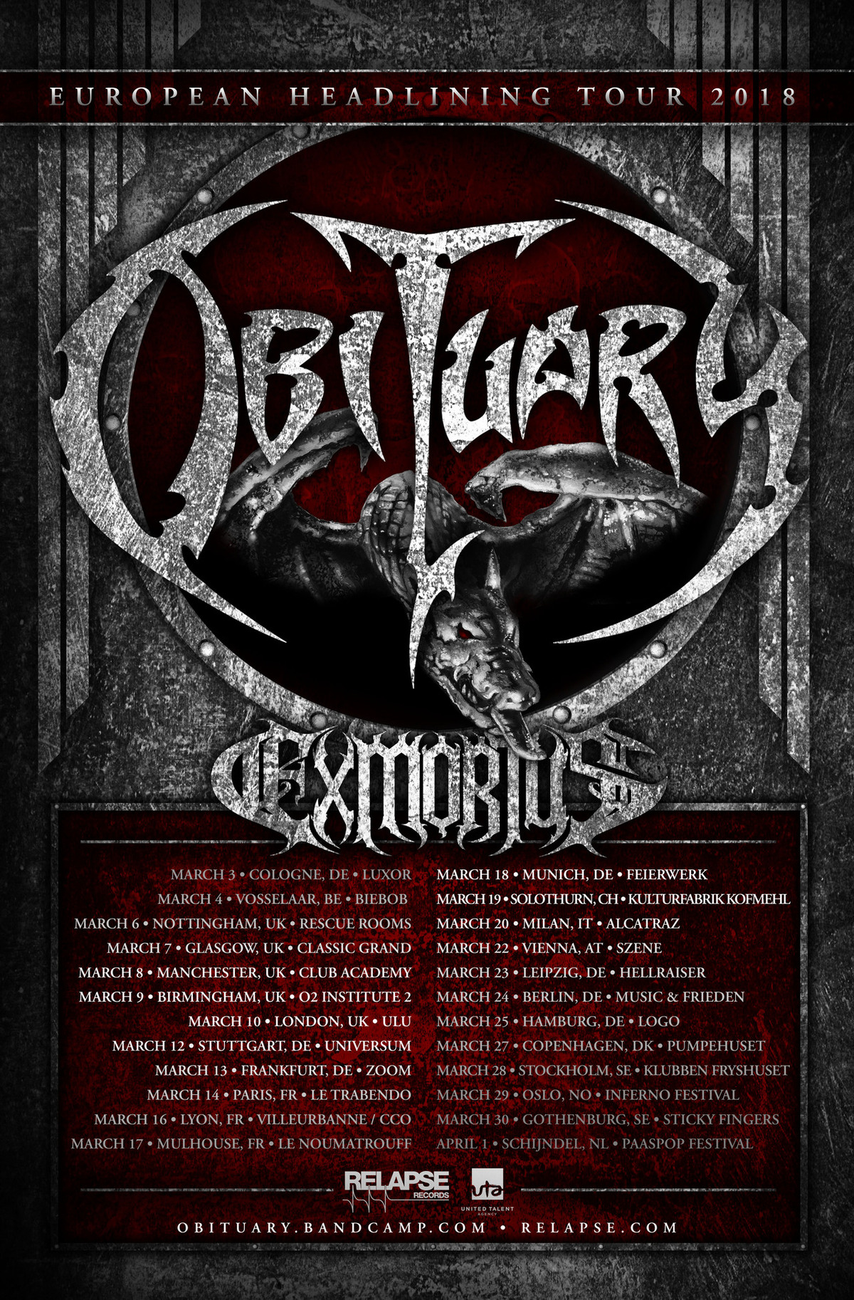 EXMORTUS announce European and UK tour dates with OBITUARY