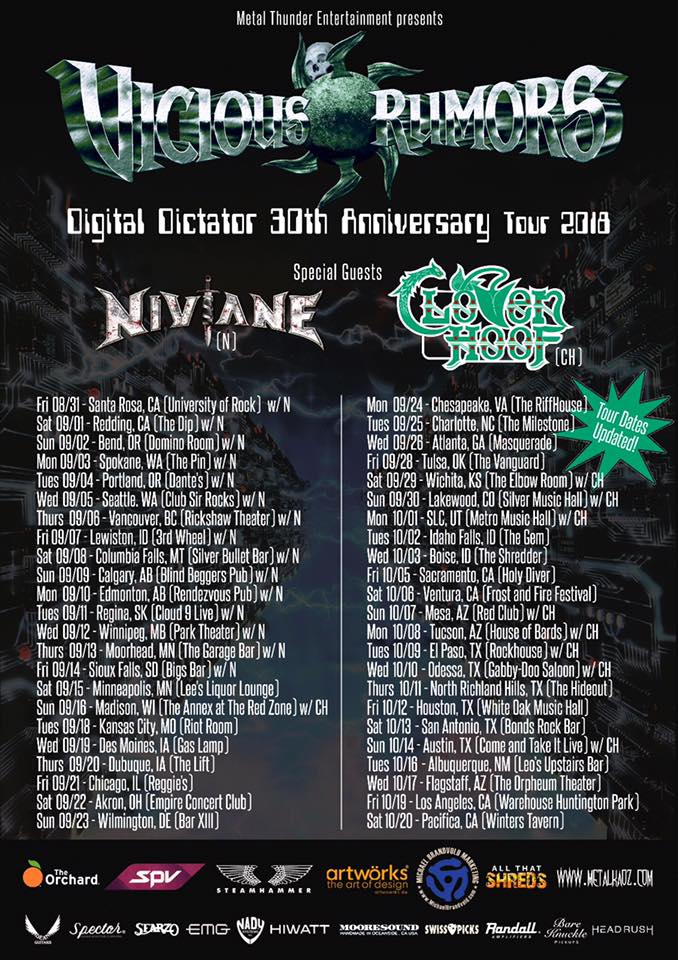Vicious Rumors Announce New Singer and U.S. Tour Dates