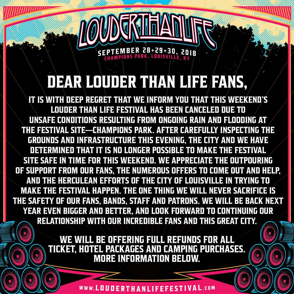 Louder Than Life Festival Cancelled Due To HeavyRains