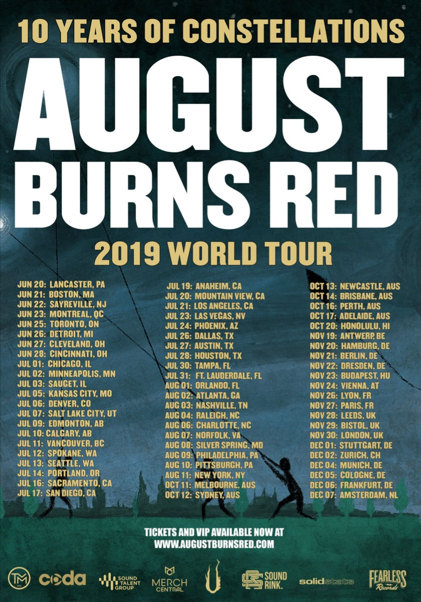 "August Burns Red Announce ""Constellations"" 10-Year Anniversary World Tour"