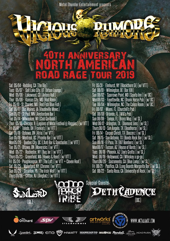 "VICIOUS RUMORS Kick Off ""40th Anniversary Road Rage"" North American Tour Tomorrow"