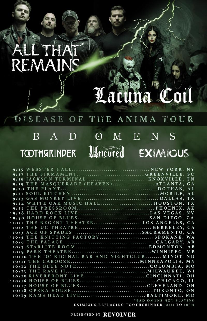 Lacuna Coil and All That Remains announce Disease Of The Anima co-Headline Tour