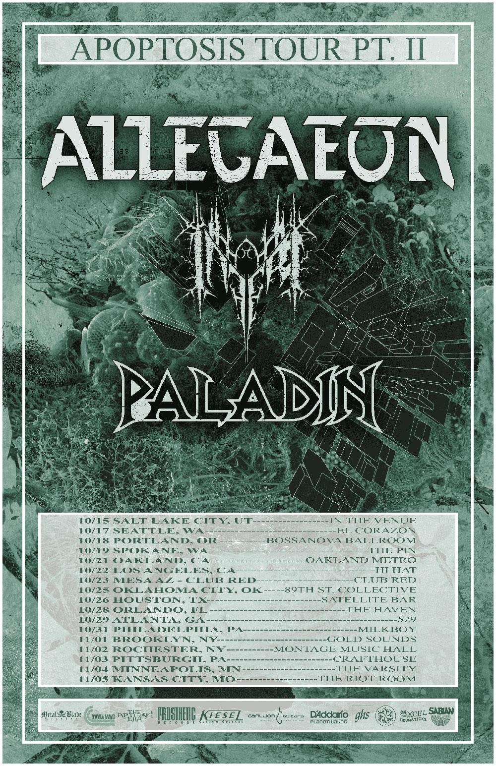"""Allegaeon announces """"Apoptosis Tour Pt II""""USA"""