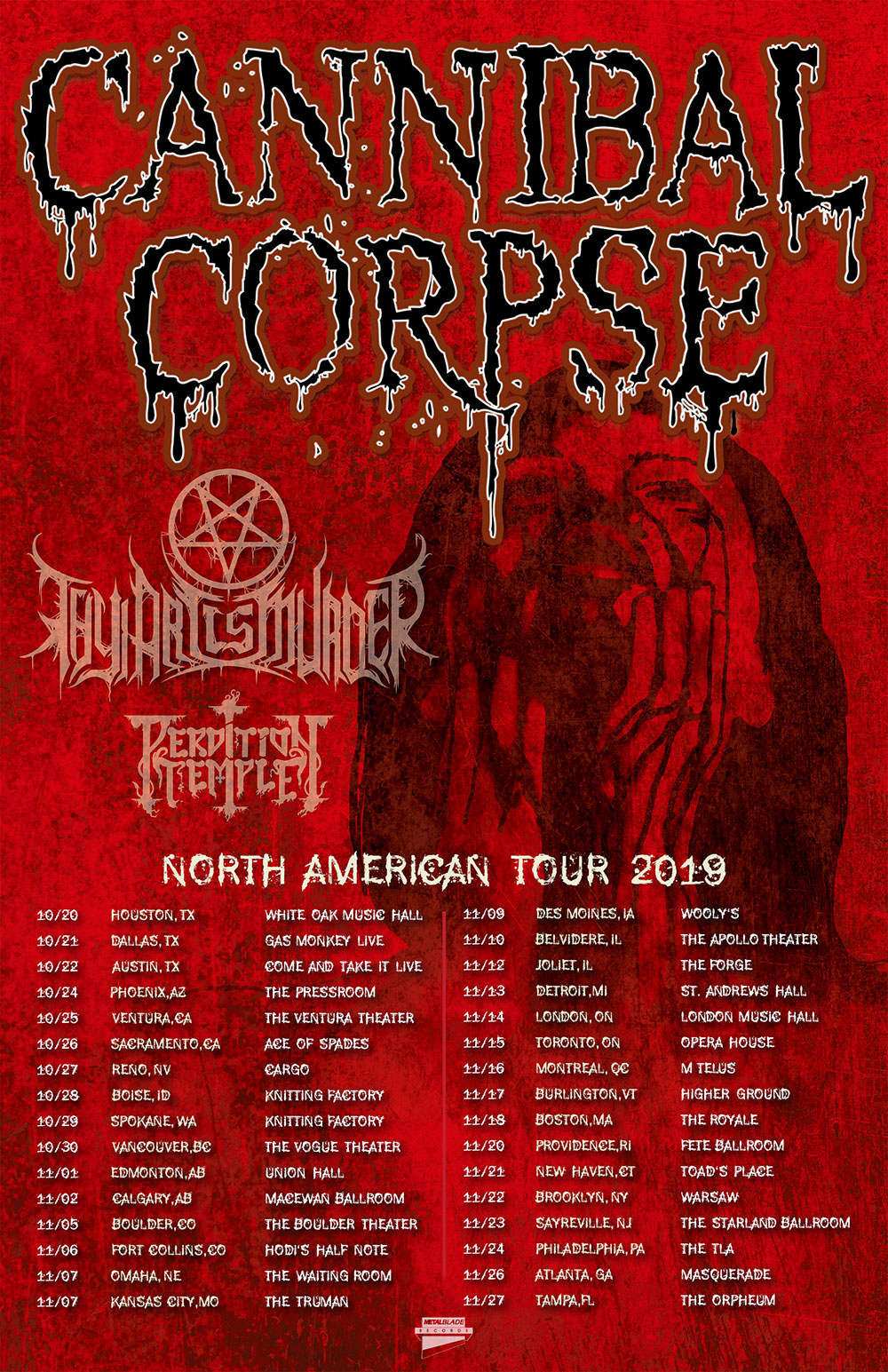 Cannibal Corpse announces North American tour with Thy Art IsMurder