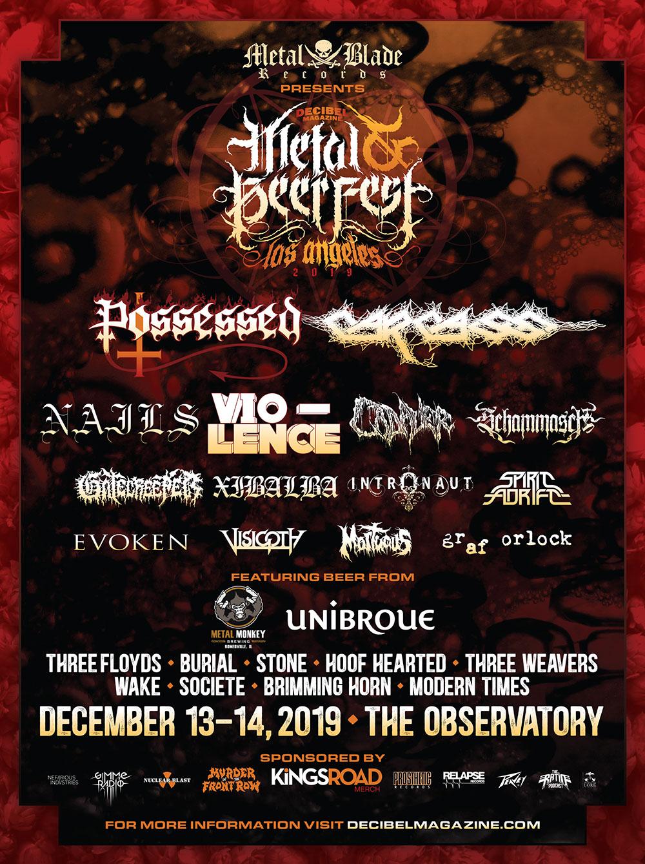 Carcass, Intronaut, Xibalba added to final lineup of Decibel Magazine Metal & Beer Fest LA2019