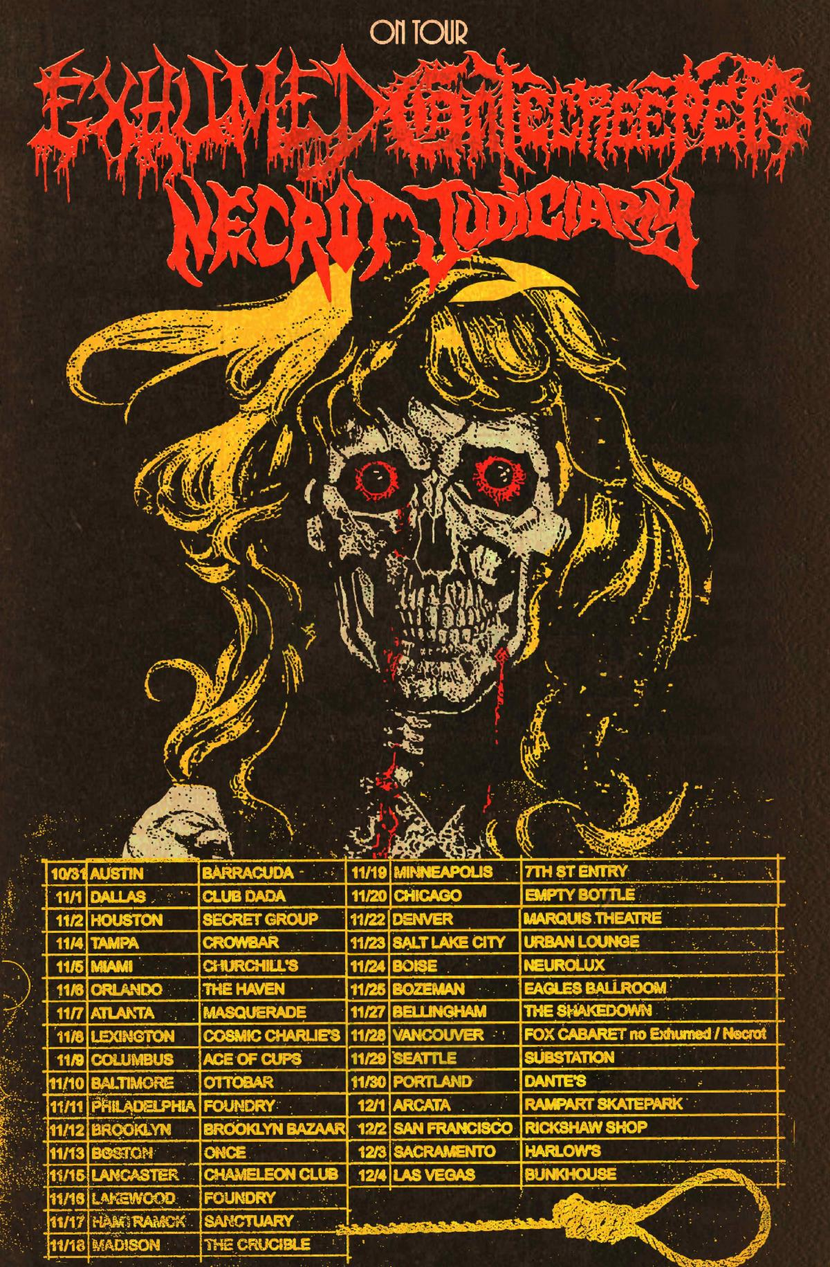 GATECREEPER and EXHUMED Announce Co-Headlining US Fall Tour