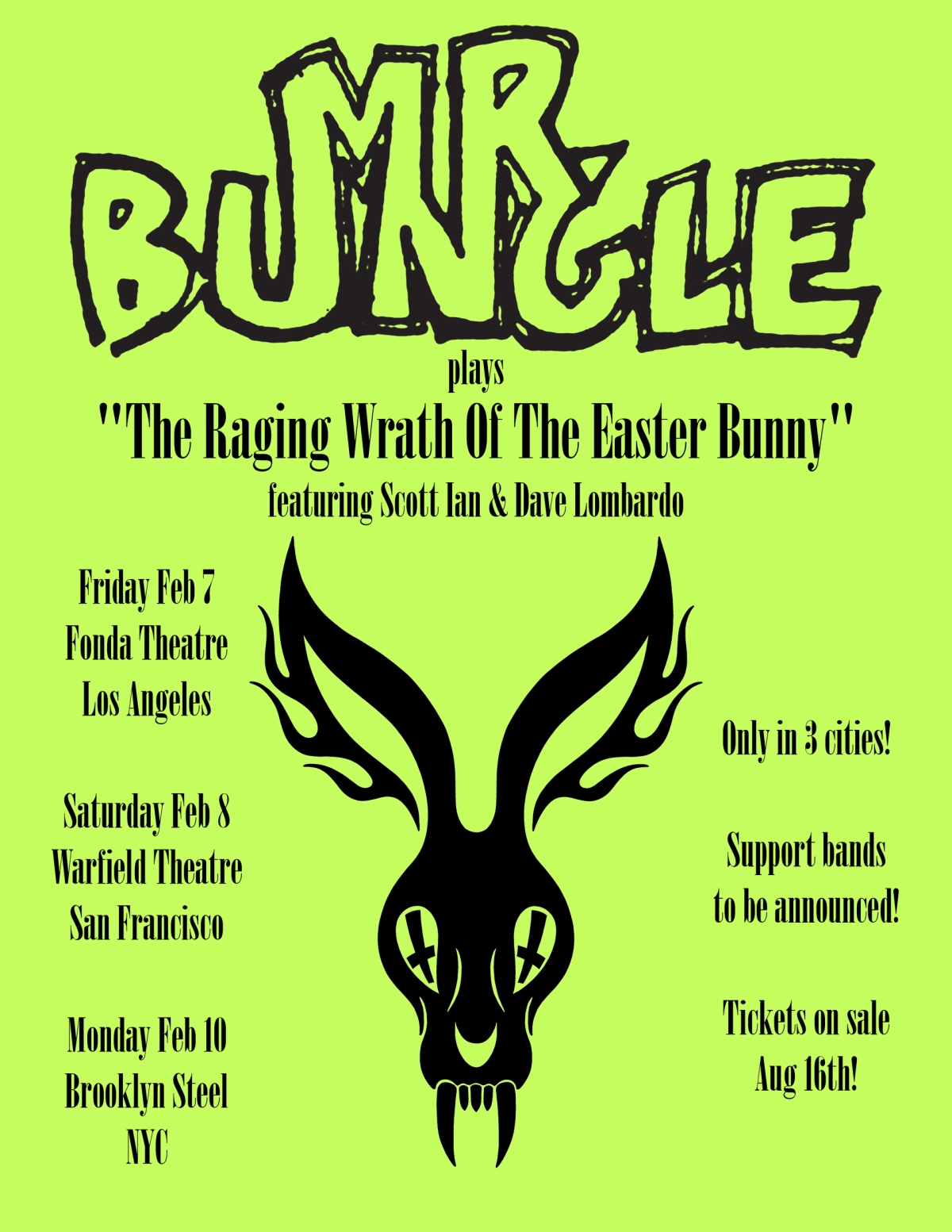 Mr. Bungle Performs The Raging Wrath of the Easter Bunny in Trio of February Shows