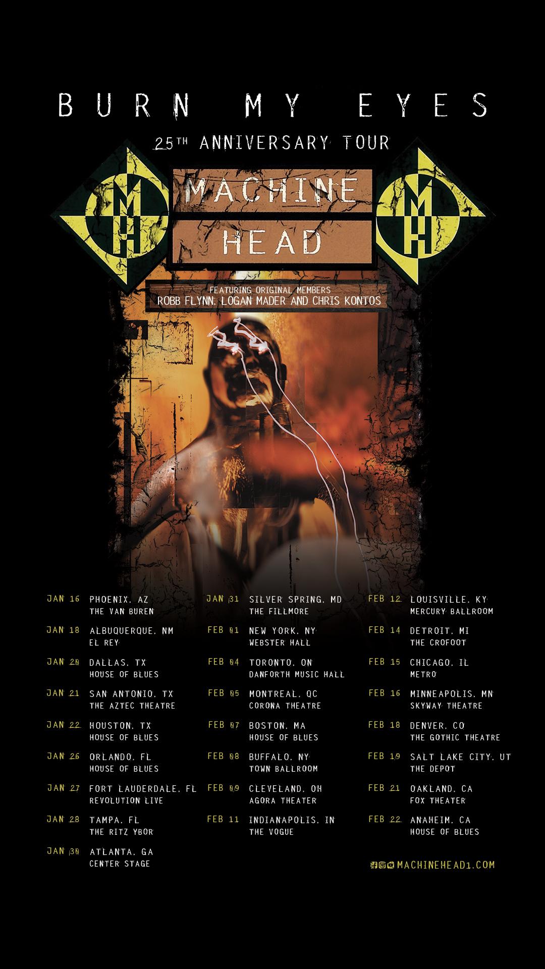 "Machine Head Announce North American""Burn My Eyes"" 25th AnniversaryTour"